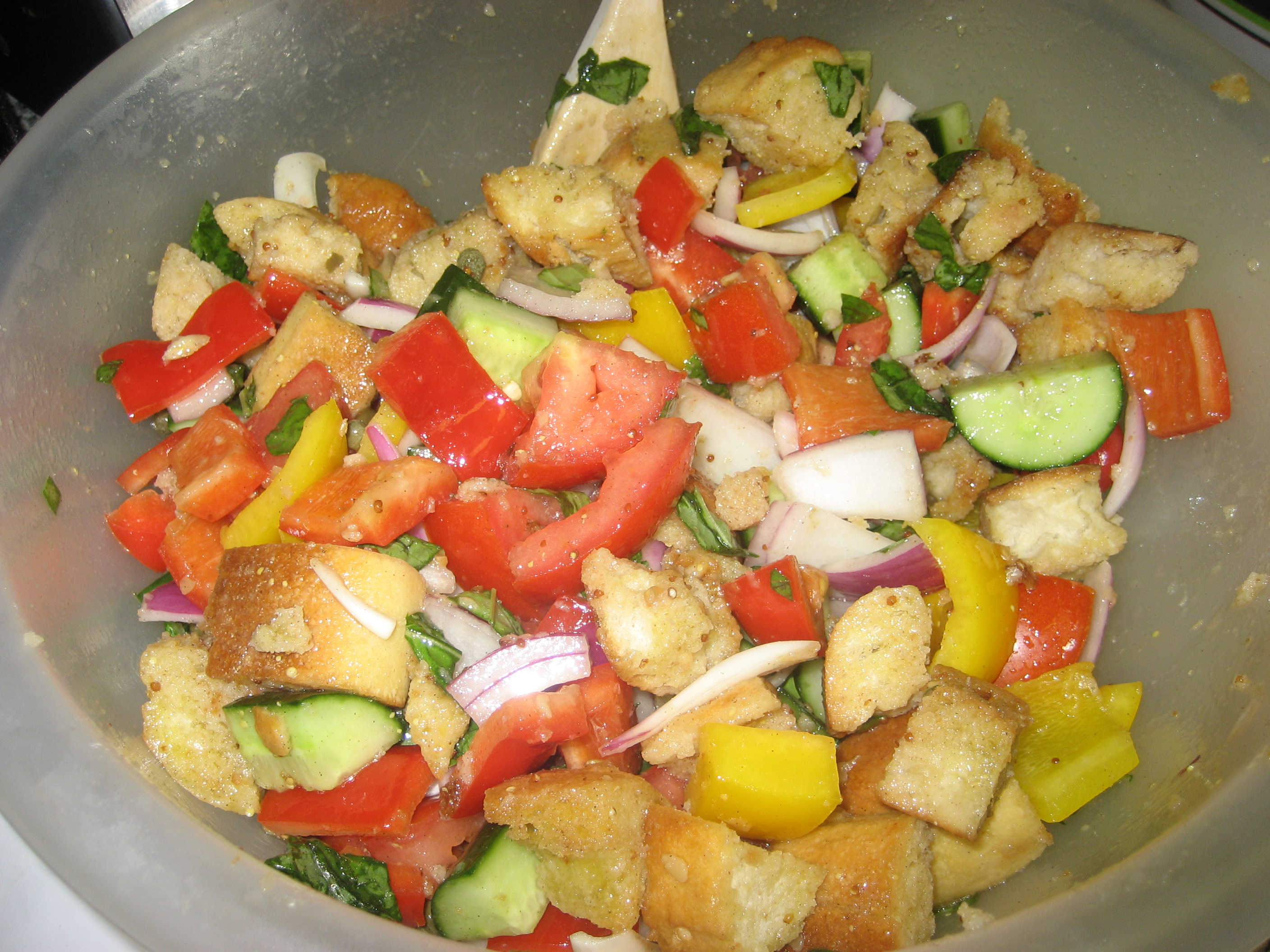 salmon panzanella salad - balancing today